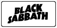 Black Sabbath Script Photo License Plate