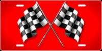 Checkered Flag (Red) Airbrush License Plate