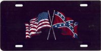 Confederate / US Flag Airbrush License Plate