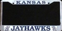 Kansas Jayhawks Chrome Metal License Plate Frame