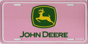 John Deere Logo On Pink Metal License Plate