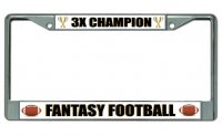Fantasy Football 3X Champion Chrome License Plate Frame