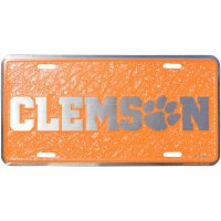 Clemson Tigers Mosaic Metal License Plate