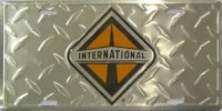 International Logo Diamond Plate License Plate