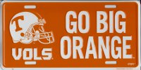 Tennessee Volunteers Go Big Orange Metal License Plate