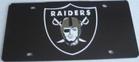 Oakland Raiders Black Laser License Plate