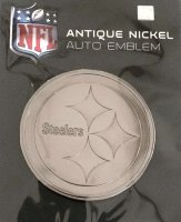 Pittsburgh Steelers Antique Nickel Auto Emblem