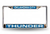 Oklahoma City Thunder Laser Chrome License Plate Frame