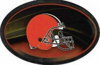 Cleveland Browns Chrome Die Cut Oval Decal