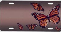 Butterflies on Mocha Airbrush License Plate