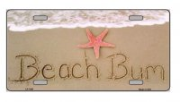 Beach Bum Metal License Plate