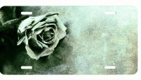 Black And White Faded Rose Metal License Plate