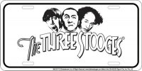 The Three Stooges White Metal License Plate