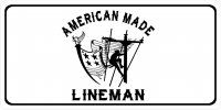 American Made Lineman Photo License Plate