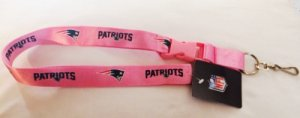 New England Patriots Pink Lanyard With Safety Fastener