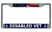 Disabled Vet Chrome License Plate Frame