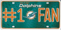 Miami Dolphins #1 Fan Metal License Plate