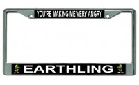 Marvin Martian Making Me Very Angry Chrome License Plate Frame