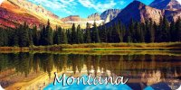 Montana Mountain Reflection Scene Photo License Plate