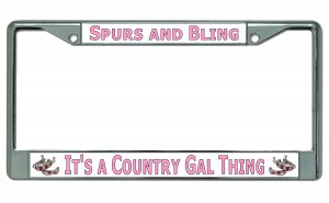 It's A Country Gal Thing Chrome License Plate Frame
