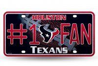 Houston Texans #1 Fan Glitter License Plate