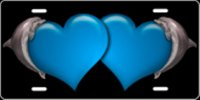 Dolphin Hearts (Blue) Airbrush License Plate