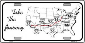 Route 66 Take The Journey Metal License Plate