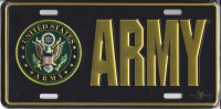 Army With Logo Stamped Metal License Plate