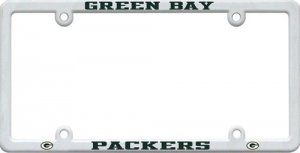 Green Bay Packers White Plastic License Plate Frame