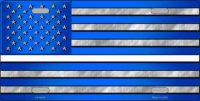 Blue American Flag Thin White Line Metal License Plate