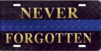Fallen Police Officer Blue Stripe License Plate