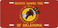 Absentee Shawnee Tribe Of Oklahoma Metal License Plate