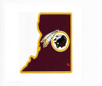 Washington Redskins Home State Vinyl Sticker