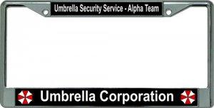UMBRELLA Corporation Alpha Team Chrome License Plate Frame
