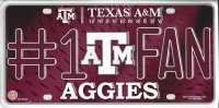 Texas A&M #1 Fan Metal License Plate