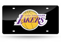 Los Angeles Lakers Black Laser License Plate