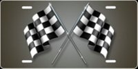 Checkered Flag (Grey) Airbrush License Plate