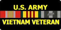 U.S. Army Vietnam Veteran Ribbon Photo License Plate