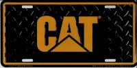Caterpillar Logo On Diamond Plate License Plate