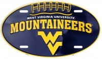 West Virginia Mountaineers Oval Metal License Plate