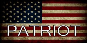Patriot On American Flag Photo License Plate
