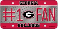 Georgia Bulldogs #1 Fan Metal License Plate