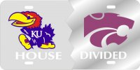 Kansas Jayhawks / K-State Wildcats House Divided Laser Plate