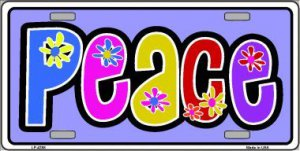 Peace And Flowers Metal License Plate