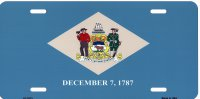 Delaware State Flag Metal License Plate