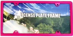Zinc Alloy Hot Pink Metal License Plate Frame