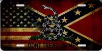 Confederate Rebel Flag Worn Chrome License Plate Frame