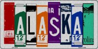 Alaska Cut Style Metal License Plate