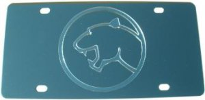 Cougar Silver Logo Stainless Steel License Plate