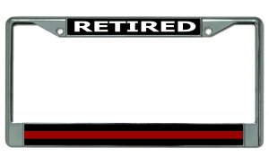 Retired Firefighter Thin Red Line Chrome License Plate Frame